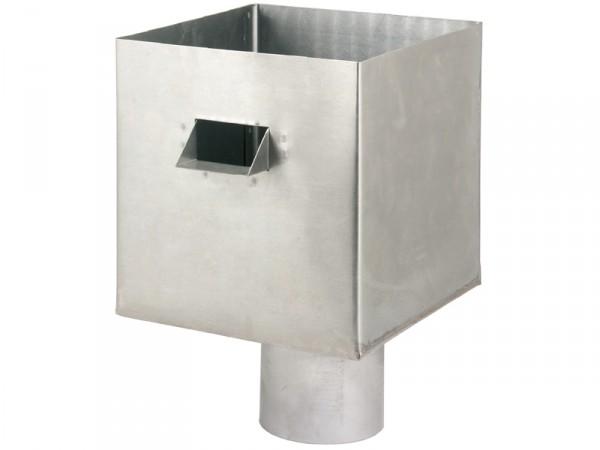 Boite à eau Zinc 15 x 15 avec trop plein. Naissance Ø 75 mm ext.