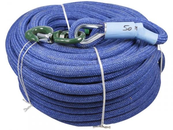 Corde à poulie bleue PPTEX tressée avec crochet